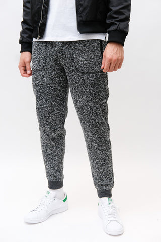 Black Marl Cozy Knit Fleece Jogger