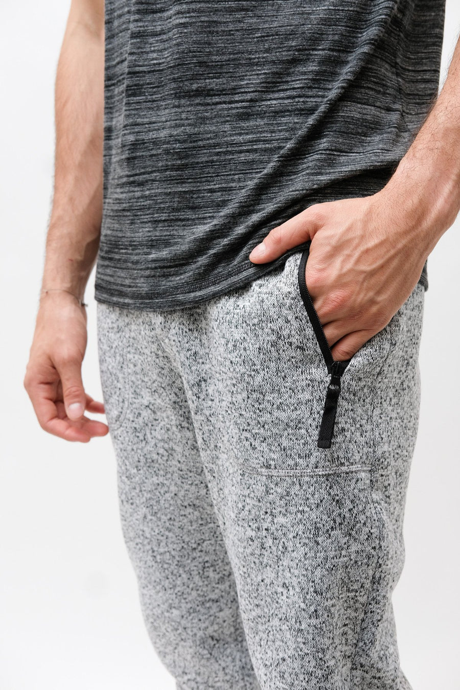 Grey Marl Cozy Knit Fleece Jogger