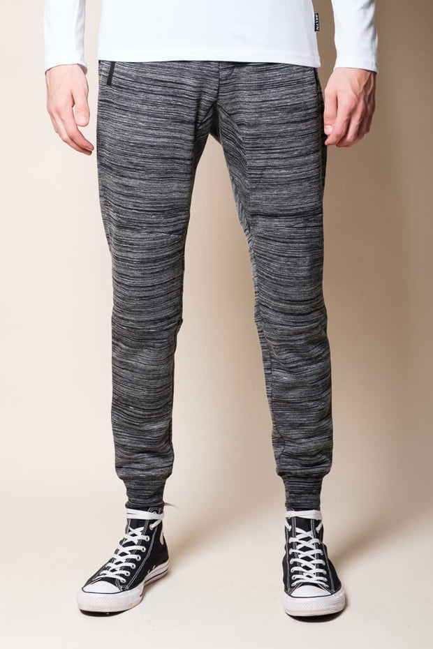 Black Knit Space Dye Jogger Pants for Men