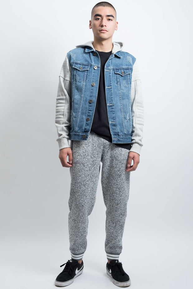 Check Out Men's Cozy Knit Grey Marl Jogger Pants