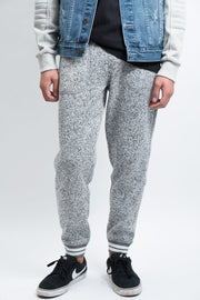 Cozy Knit Fleece Jogger Pants for Men in Grey Marl