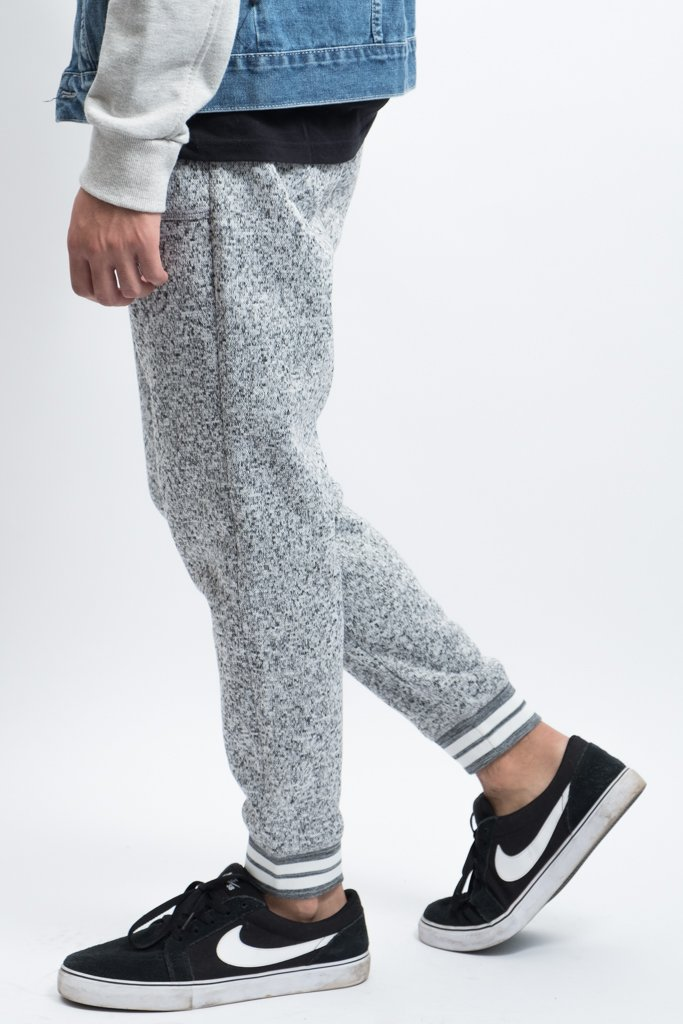 Grey Marl Varsity Cozy Knit Fleece Jogger Pants