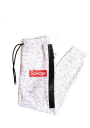 White Space Dye Print Savage Logo Fleece Jogger Pants