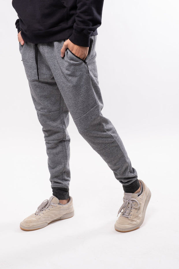 Black Marl Slant Zip Pocket Fleece Jogger