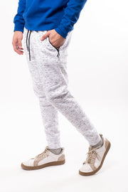 White Printed Space Dye Slant Zip Pocket Fleece Jogger