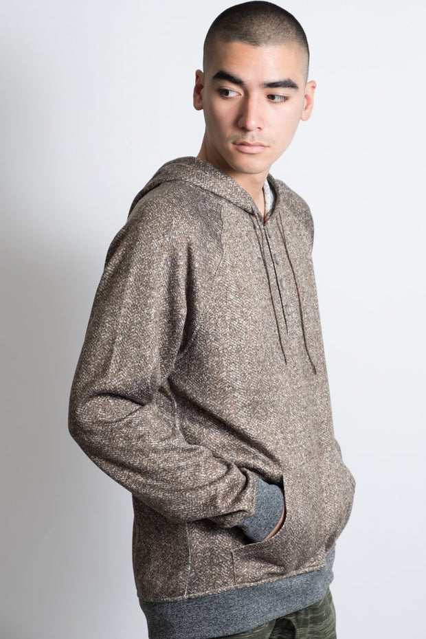 Men's Wheat Herringbone Cozy Pull Over Hoodie