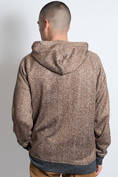 Cozy Knit Pull Over Hoodie in Tobacco For Men