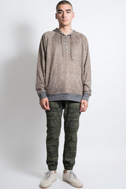 Wheat Cozy Knit Pull Over Hoodie for Men