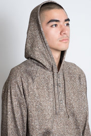 Pull Over Herringbone Cozy Knit Hoodie in Wheat for Men