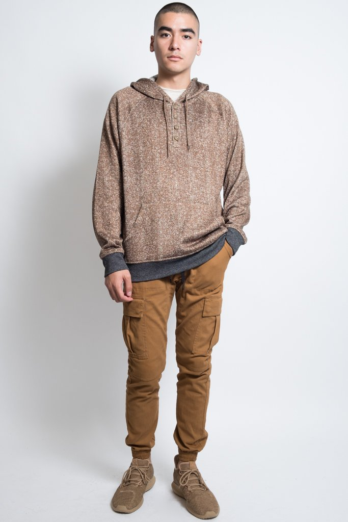 Tobacco Cozy Knit Herringbone Print Pull Over Hoodie for Men