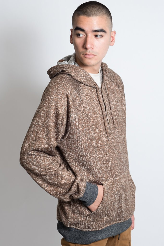 Men's Tobacco Cozy Knit Herringbone Print Pull Over Hoodie