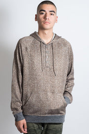 Cozy Knit Pull Over Herringbone Hoodie in Wheat for Men