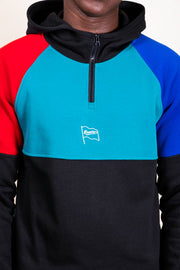 Retro Colorblock Quarter Zip Hoodie