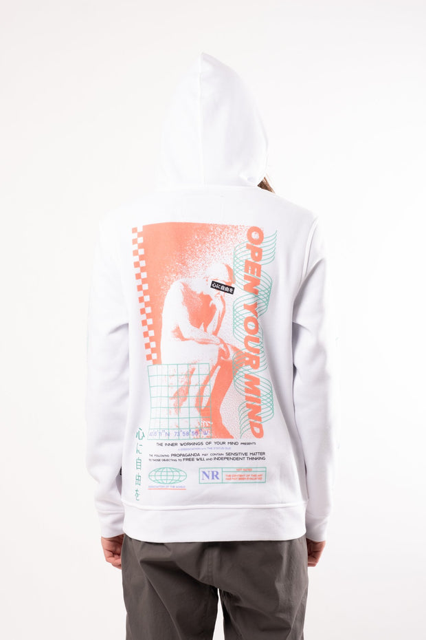 White Open Your Mind Hoodie