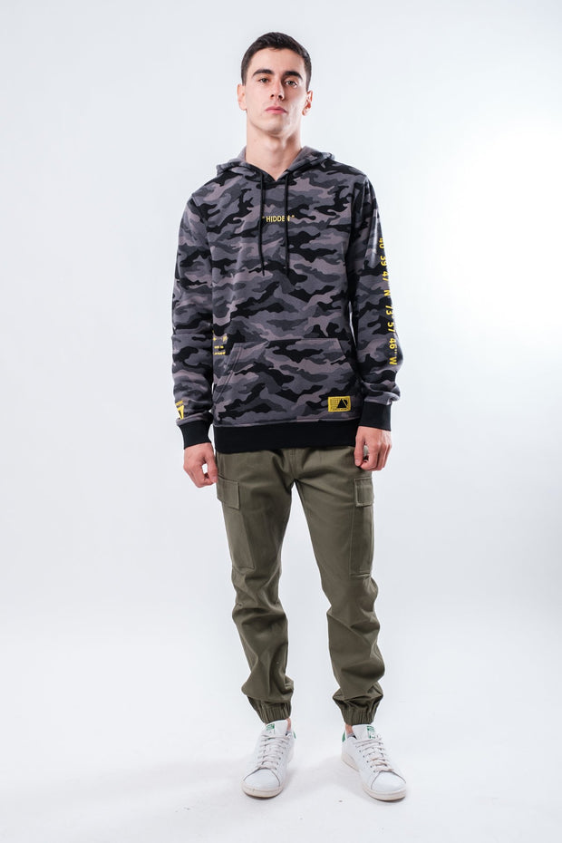 Black Camo Embroidered Hidden Hoodie