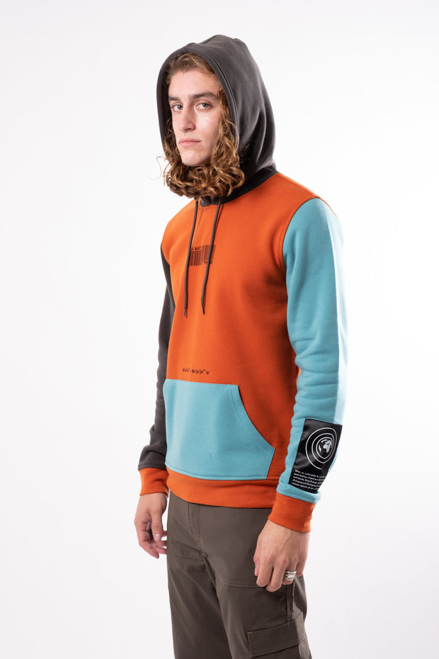 Burnt Orange Nature Tech Blocked Hoodie