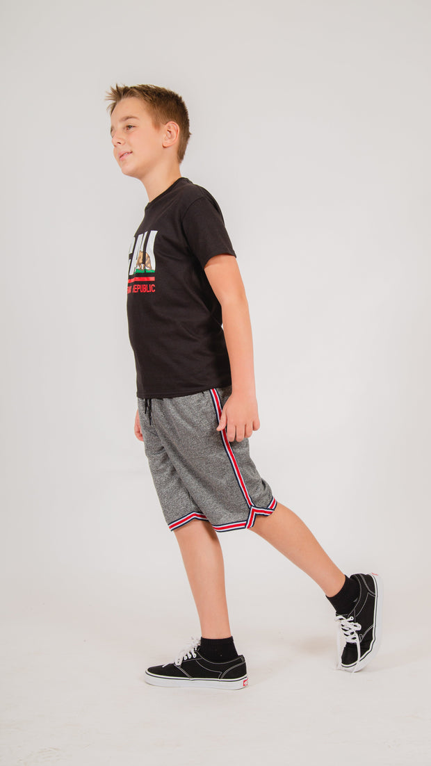 Boys Poly Pique Striped Shorts in Black Marl