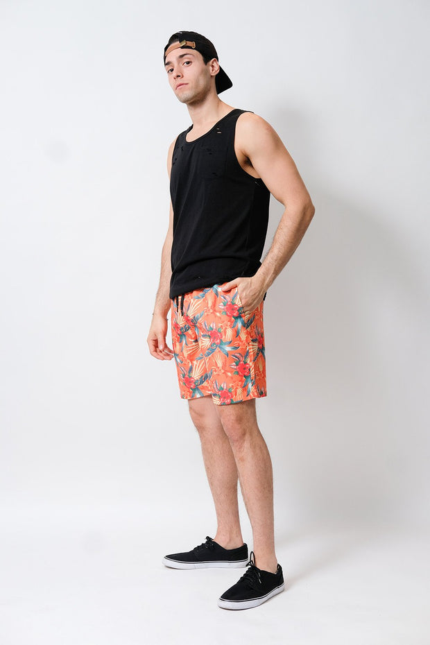 Hibiscus Volley Shorts in Orange