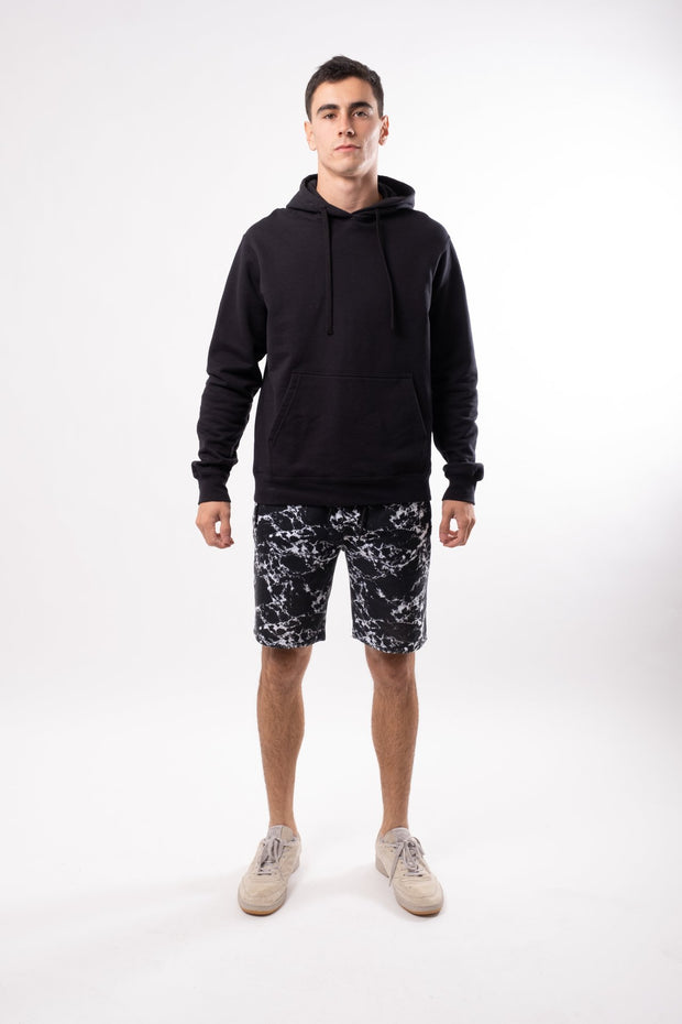 Black Marble Print Fleece Short