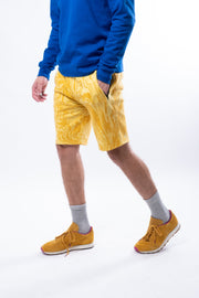 Gold Oil Slick Print Fleece Short