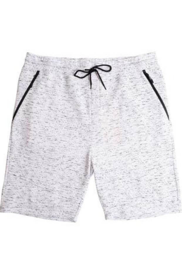 Big & Tall White Printed Space Dye Slant Zip Pocket Fleece Short