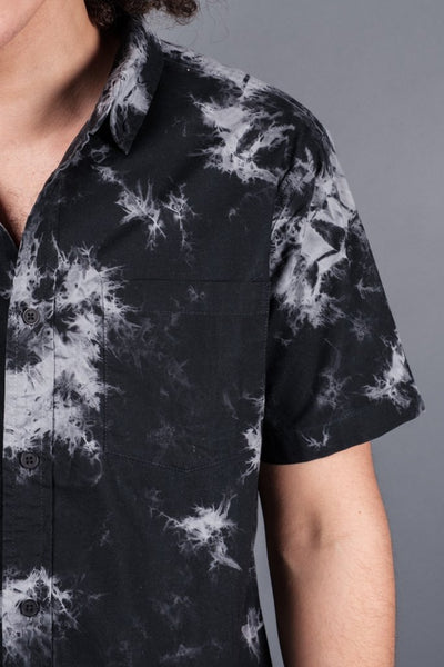 Men's Black Tie Dye Woven Shirt