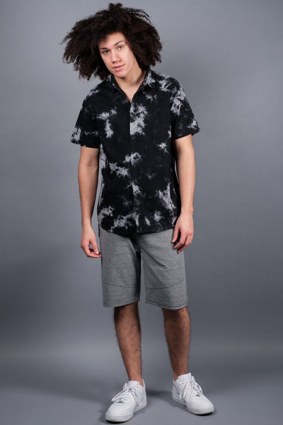 Men's Black Tie Dye Woven Shirt available at Brooklyn Cloth