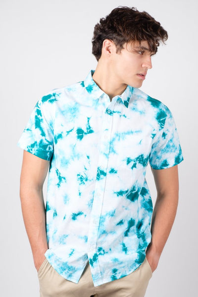 Green Tie Dye Woven Shirt for Men