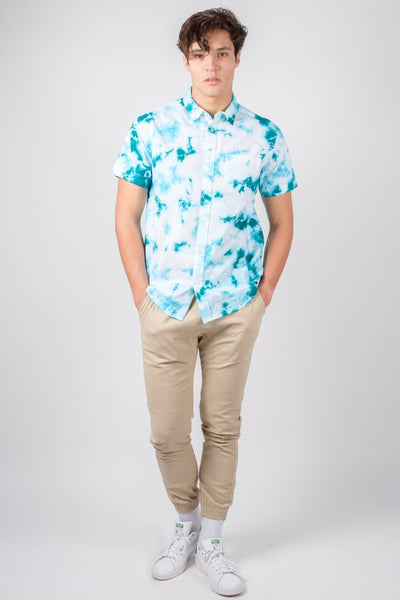 Brooklyn Cloth Green Tie Dye Woven Shirt for Men