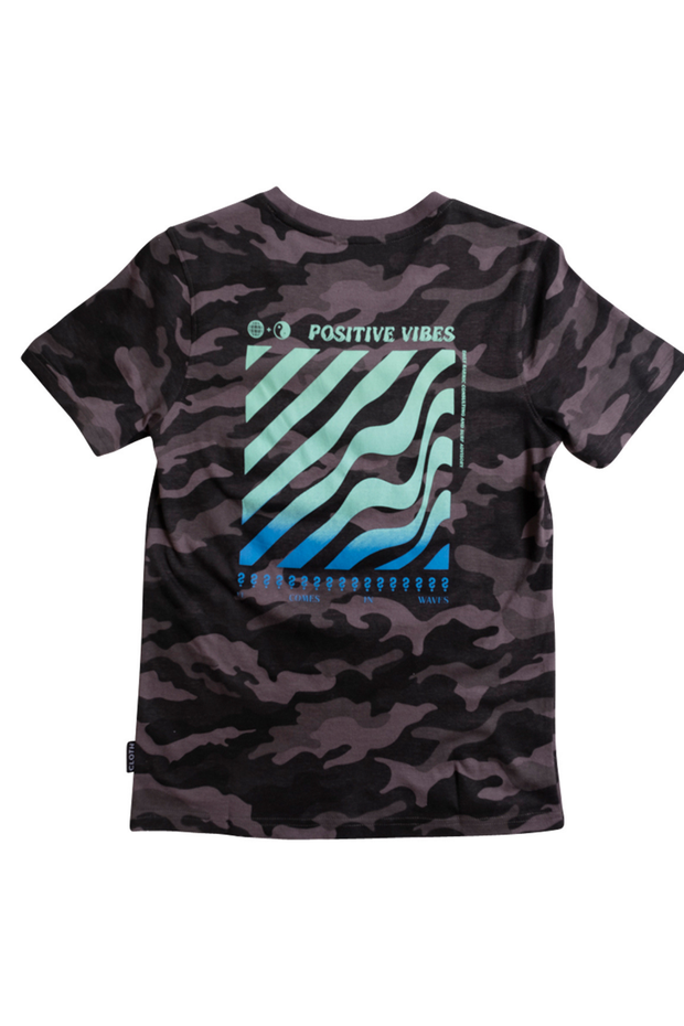 Boy's Black Camo Positive Vibes Crosswalk Tee