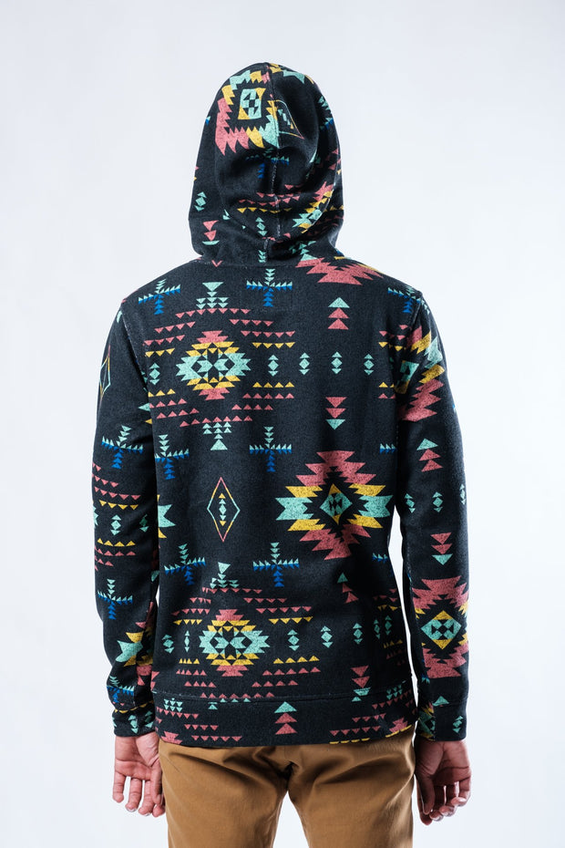 Black Dusty Geometric Cozy Hoodie