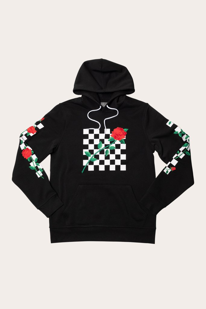 Black Rose Checkered Hoodie