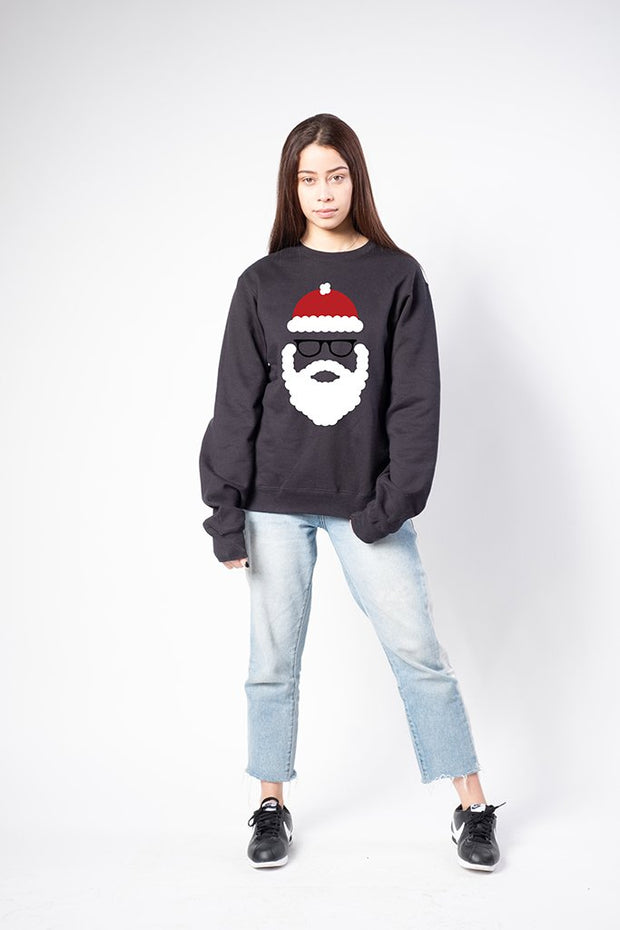 Women's Black Hipster Santa Sweatshirt