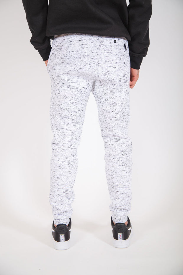 White Printed Space Dye Fleece Jogger Pants 2.0