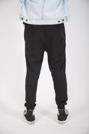Black Diagonal Heat Seal Fleece Jogger Pants