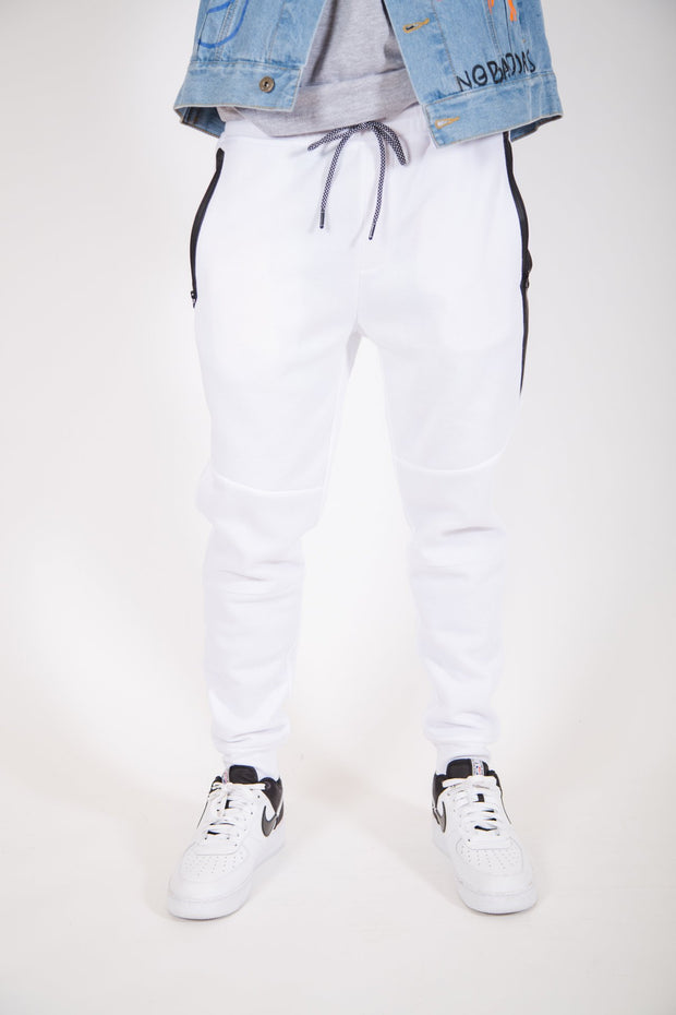 White Diagonal Heat Seal Fleece Jogger Pants