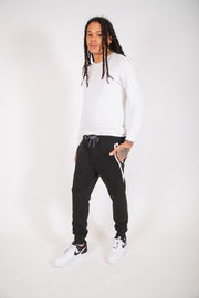 Black and White Diagonal Heat Seal Fleece Jogger Pants
