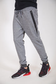 Black Marl Diagonal Heat Seal Fleece Jogger Pants
