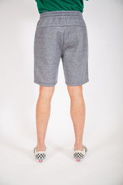 Black Marl Diagonal Heat Seal Zip Shorts