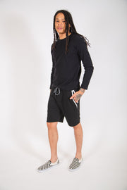 Black and White Diagonal Heat Seal Zip Shorts