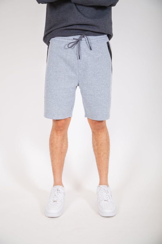 Heather Grey Diagonal Heat Seal Zip Shorts