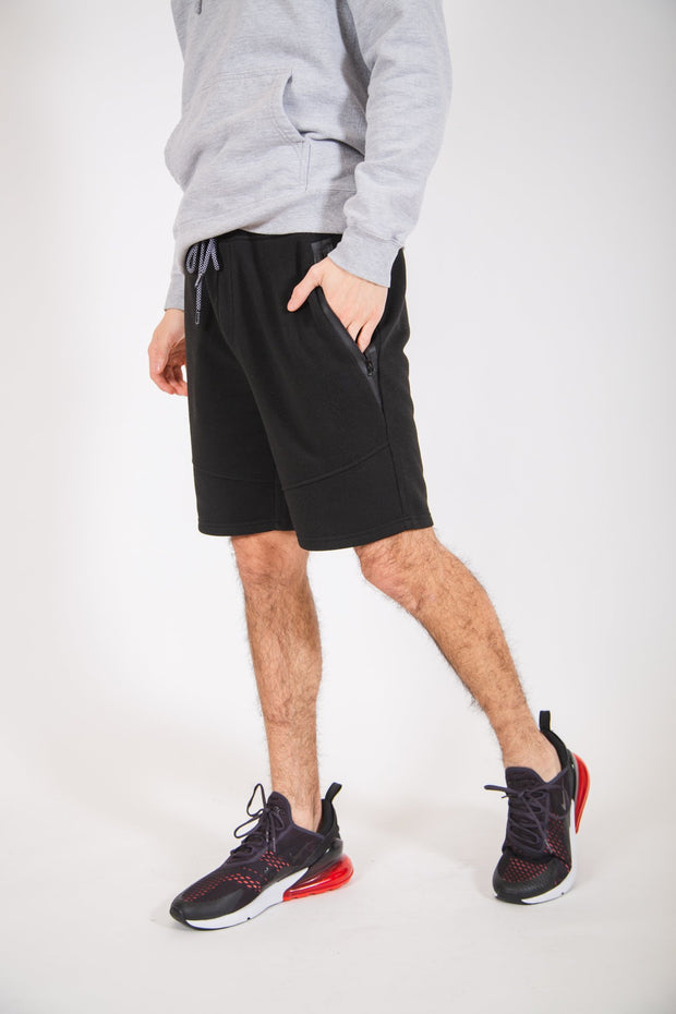 Black Diagonal Heat Seal Zip Shorts