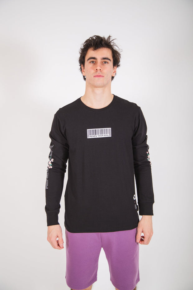 Black Renew Your Soul Long Sleeve Tee