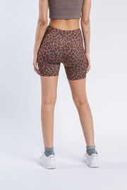 "Women's 5"" Inseam Brown Leopard Bike Shorts"