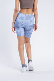 "Women's 7"" Inseam Dusty Blue Tonal Tie Dye Biker Shorts"