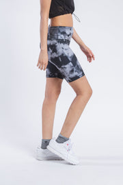"Women's 7"" Inseam Dusty Black Tonal Tie Dye Biker Shorts"