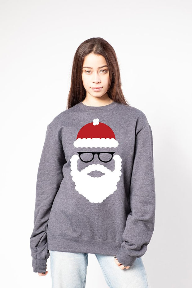 Women's Charcoal Grey Hipster Santa Sweatshirt