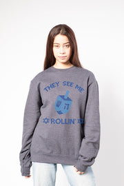 Women's Charcoal Grey They See Me Rollin' Sweatshirt