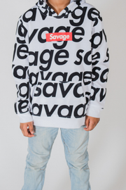 Boys White Savage Box Logo Repeat Hoodie