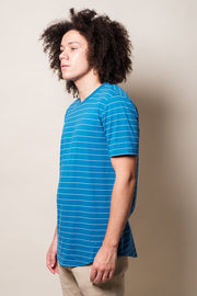 Royal Blue Single Striped Tee for Men